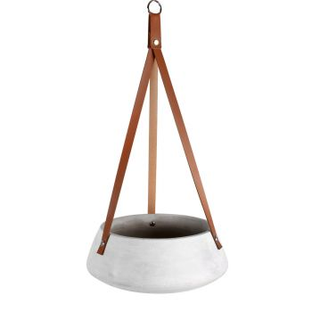 Lucee Concrete Hanging Pot With Pu Leather Strap 24x9cm