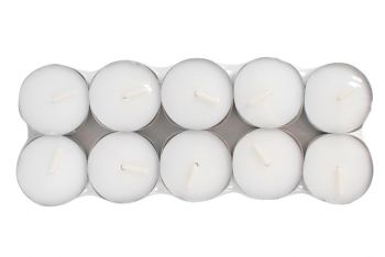 10 pack Tealights White 6 Hours Non-Scented