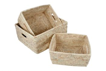Set of 3 Erin Seagrass and Date Leaf Baskets with Handles 35x30x16cm