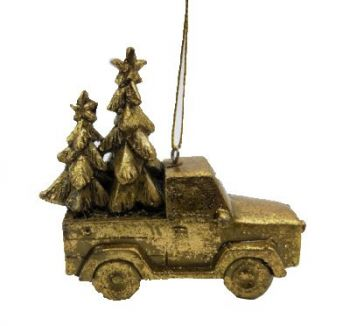 Truck w/ Christmas Tree Resin Hanging Décor