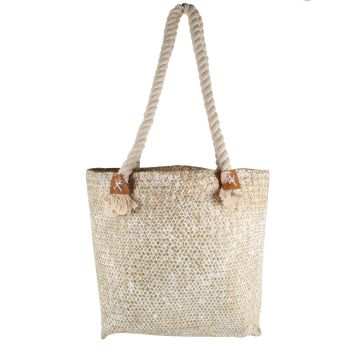 White Haven Straw Bag With Rope Handle