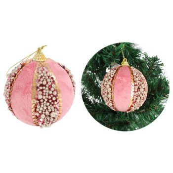 Luxe Sphere Wool and Glitter Bauble Pink