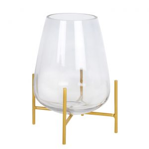 Bella Vase On Stand Clear Glass