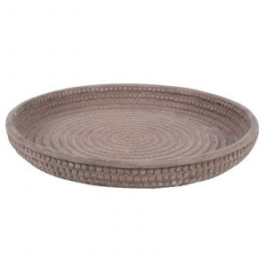 Danube Round Cement Ribbed Display Plate Light Grey